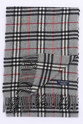 Genuine Burberry 100% Lambswool Grey Check Vintage Scarf Made In England