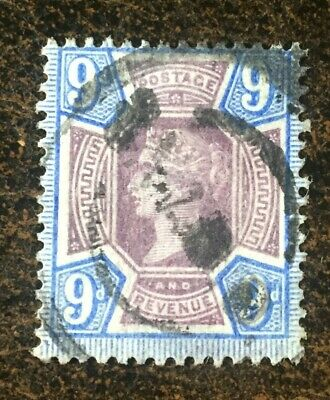 Queen Victoria Jubilee Issue 1887-1900. 9d, Purple and Blue, SG 209 Used.