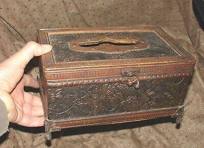 Beautiful Very Old Antique Small Chest Box Wood Body Fabric Decor  Bronze  Legs