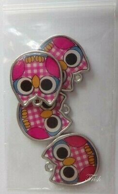 1 set of 4 Double-sided Enamelled OWL charms ~ PINK