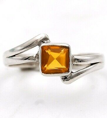 Wonderful Art Golden Citrine 925 Solid Sterling Silver Ring Jewelry Sz 6 C17-6