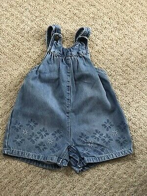 F&F Baby Girls Floral Denim Dungarees 9-12