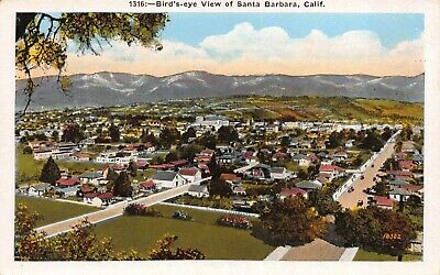 Postcard Birds Eye View of Santa Barbara, California~121092