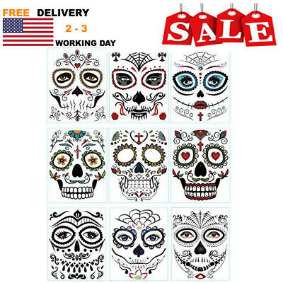 9Sheets Floral Day of the Dead Sugar Skull Temporary Face Tattoos for Halloween!