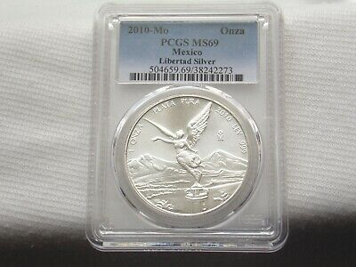 """2010 - Mo Pcgs Ms69 1Onza Mexico Silver Libertad """" Low Pcgs Pop """" Only 3 Higher"""