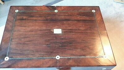 Antique Vintage Victorian Ladies Rosewood Sewing Box With Tools