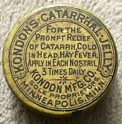 Antique Kondon's Catarrhal Jelly Vintage Medicine Tin.BIDDING STARTS AT $1