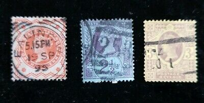 3x GB QV 1887 - 1900  50th Jubilee Issue Stamps, Used see pics for grading