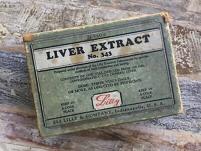 Antique Advertising Box Liver Extract No. 343 Vintage Eli Lilly Medical Vial Box
