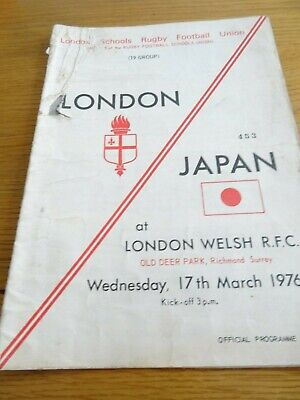 London v Japan - London Schools Rugby Union at London Welsh March17th 1976
