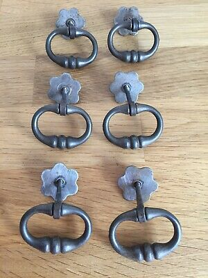 Vintage Antique Ornate Metal Brass? Draw Or Small Door Handles Set Of Six French