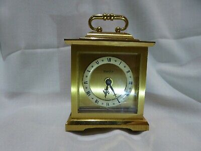 Small Swiss brass carriage clock with quartz movement