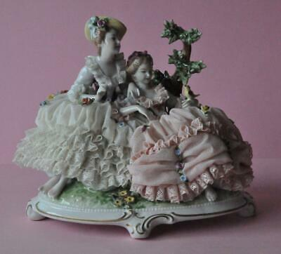 Lovely Porcelain Figural Group 2 Figurine Dresden Lace Germany