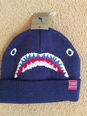 NEW JOULES Boys Navy Blue Shark Design Thick Woollen Hat Age 4-7 Years With Tags