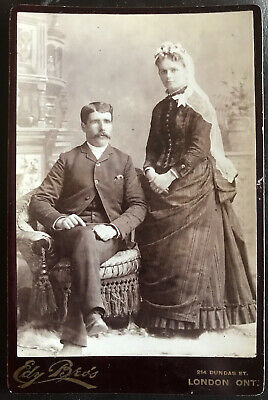 Edy Bro's Photo Mustached Man Sits Lady Stands London Ontario Canada 1880-90