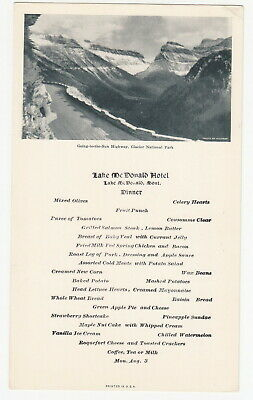 Going to Sun Highway 1930s Menu Glacier National Park - Lake McDonald Hotel