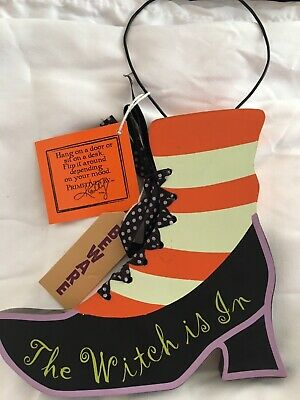 Halloween Door Witch Decoration Shoe Sign Witch is In Witch is Out Hanging NWT