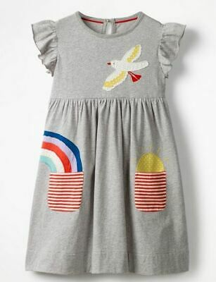 mini boden grey applique dress with pockets  age 5-6 girls rainbow bird