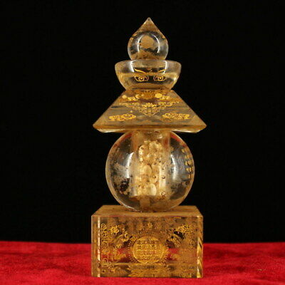 Handmade Precious Exquisite Temples Unearthed Painted Gold Crystal Sheri Pagoda