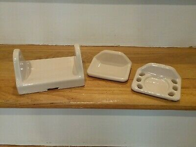 Vintage Beige Ceramic Toilet Paper, Soap Bar, Toothbrush & Cup Holder Set