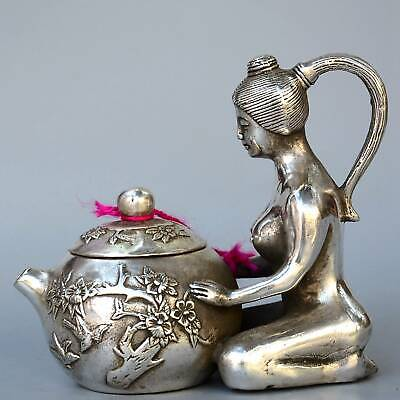 Collect Handmade Antique Miao Silver Carving Naked Fairy Unique Noble Wine Pot