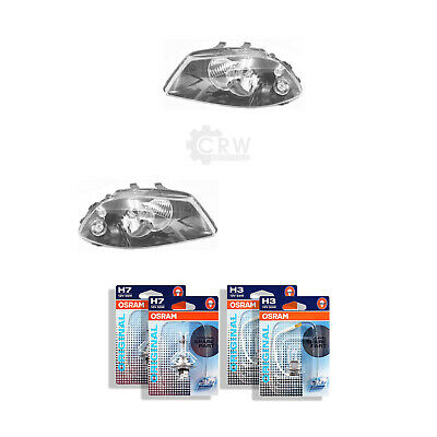 Headlight Set for Seat Ibiza III 3 Type 6L Year 02-06 Valeo H7 +H3 Incl. Lamps
