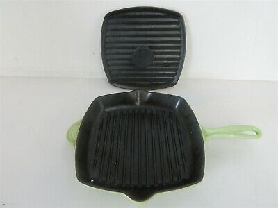 "Le Creuset France 26 Cast Iron Enameled 10 1/2"" Light Green Square Grill Skillet"