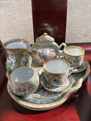 Very Fine Set Of Antique Chinese Caton Famille Rose Porcelain