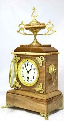 Antique Mantle Clock Stunning French Red Marble And Brass Mounts Single Train