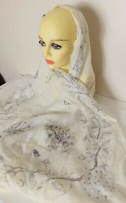 Cream Cashmere Scarf Shawl With Flowers And Butterflies