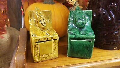 Two Antique Jester Clown Jack In The Box Art Pottery Still Banks. Roseville?
