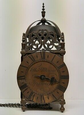 Lantern Clock Thomas Moore Ipswich Weight Driven 30 hour Solid Brass Wall Clock