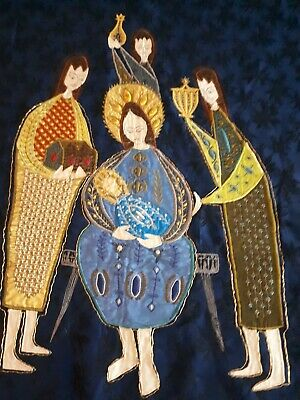 Arts & Crafts Embroided Blue Silk Tapestry~ Three Wise Men~Religious Interest