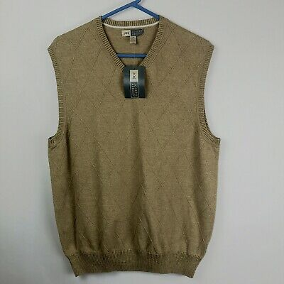 NWT Joe Joseph Abboud Mens Large Sweater Vest Argyle Beige Cotton Sleeveless NEW