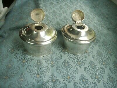 Old Vintage Antique Pair Large Silver Plated Ink Pots or Burners c.1910 Inkwell