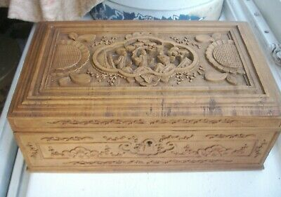 Old Antique Chinese Hand Carved Cantonese Wooden Jewel Box Figural 19th Century