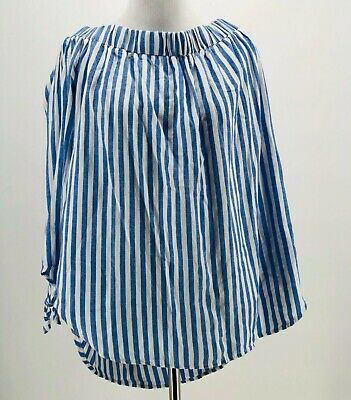 Old Navy Women's Blue White Striped Off The Shoulder Blouse Size Large