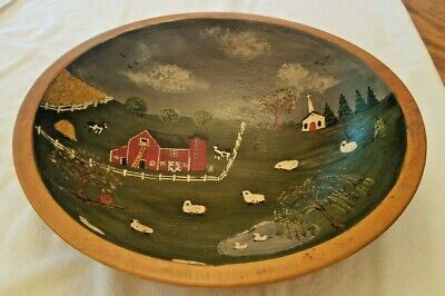 "Antique Vintage Large Primitive Turned Wood Dough Bowl 13.5"" Folk Art PaintFarm"