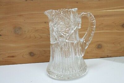"""Cut Glass Pitcher Jug Water Wine Carafe 8.5""""T Heavy Thick Glass Faceted Fluted"""