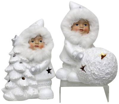 Sigro 2 Assorted Winter Girl Figure with Tree and Ball 20.5 x 12 x 14 cm Ceramic