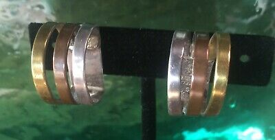 Sweet Taxco Mexican Sterling Silver Mixed Metal Modernist Earrings Los Castillo?