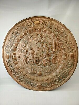 """Vintage Peerage Reg* Copper Brass 17"""" Wall Plate Made In England Family Dinner"""