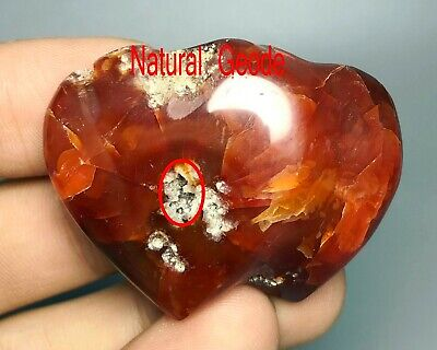 Natural Colorful Red Orange White Carnelian Agate Double Heart Stone Healing