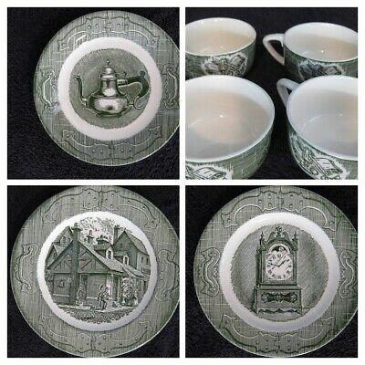 LOT of 7 MIXED Old Curiosity Shop (green) vintage Royal China USA - PLEASE READ