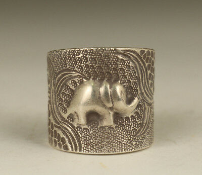 old 925 silver hand carving elephant Figure Statue Ethnic style Ring
