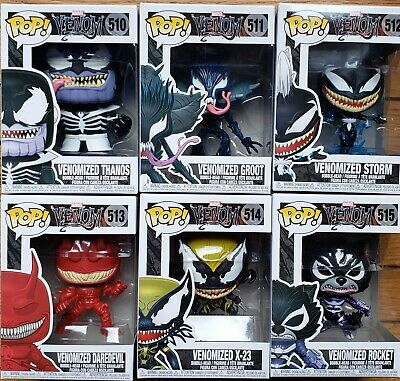 Lot of 6 Venomized Funko POP! Marvel Thanos X-23 Groot + 3 Vinyl Bobble Head