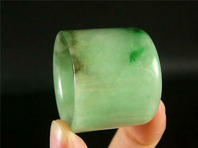 Fine Old Genuine Jadeite Emerald Jade Carved Thumb Ring