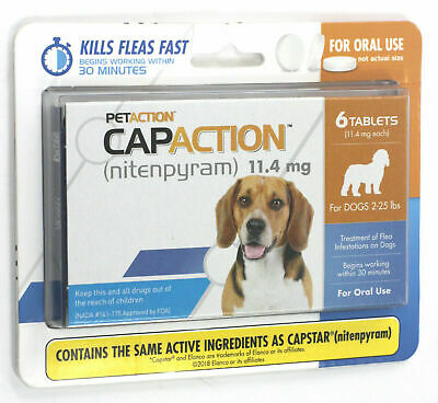 PetAction CapAction for Dogs 2-25 lbs Flea Treatment 6 Tablets exp 2021