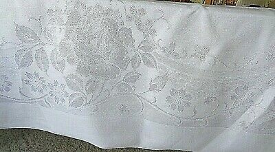 Vintage Damask White Linen Tablecloth with 8 Napkins 54 by 81 Inches