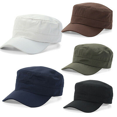 Men Women Army Military Peaked Cap Adjustable Patrol Casual Cadet Brim Flat Hats